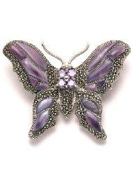 Amethyst Butterfly Brooch