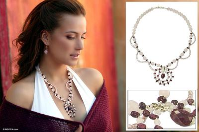 Rose quartz and garnet necklace