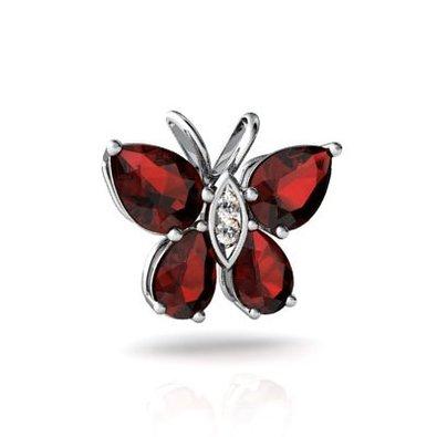 14kt Gold Garnet and Diamond Pear Butterfly Pendant
