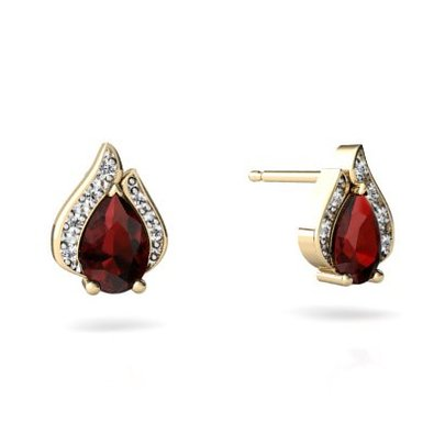 14kt Gold Garnet and Diamond Pear Flame Earrings