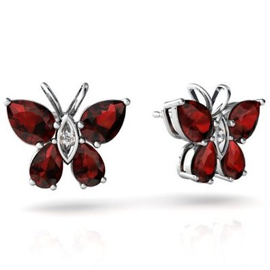 14kt Gold Garnet and Diamond Pear Butterfly Earrings