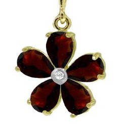 14K Gold Flower Necklace with Natural pear-shaped Garnets