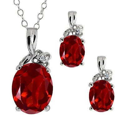 5.67 Ct Genuine Oval Red Garnet Gemstone 14k White Gold Pendant Earrings Set