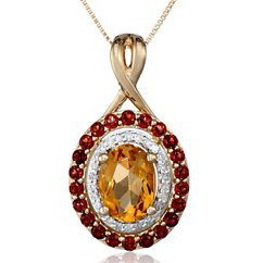 "14k Yellow Gold Citrine, Garnet and Diamond Pendant Necklace, 18"""
