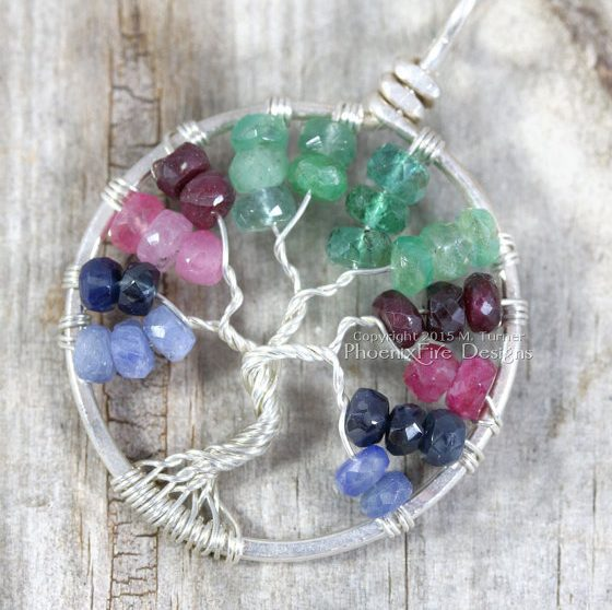 Emerald, Sapphire and Ruby Tree of Life Pendant by Phoenix Fire Designs