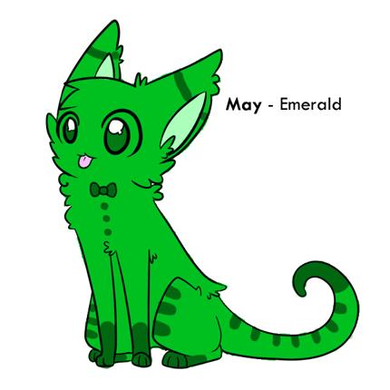 May Birthstone Cat - Emerald