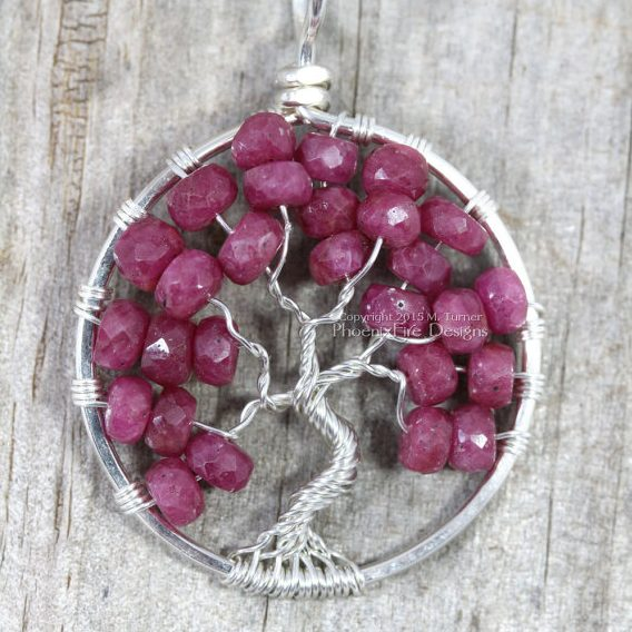 Ruby Tree of Life Pendant by Phoenix Fire Designs