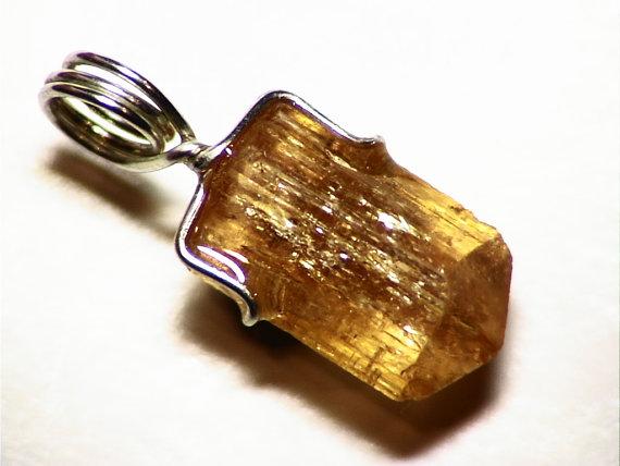 Golden Imperial Topaz Crystal Pendant