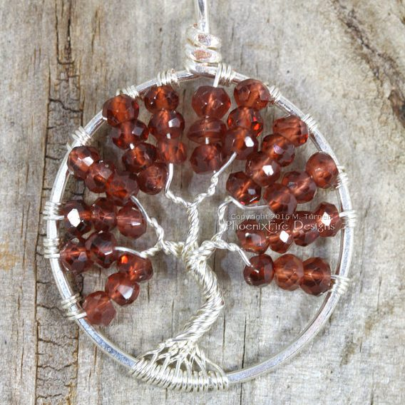 Garnet Tree of Life Birthstone Pendant by Phoenix Fire Designs