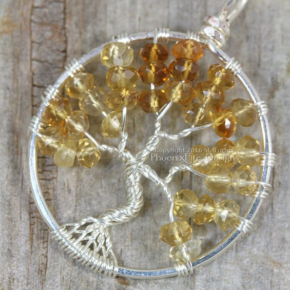 Citrine Tree of Life Birthstone Pendant by Phoenix Fire Designs