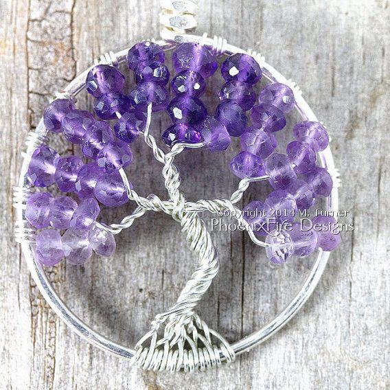 Amethyst Tree of Life Birthstone Pendant by Phoenix Fire Designs