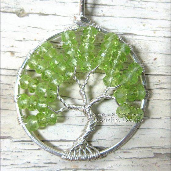 Peridot Tree of Life Birthstone Pendant by Phoenix Fire Designs