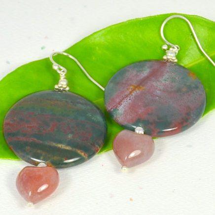 March Birthstone Earrings - Bloodstone by Silver Lining Gemz