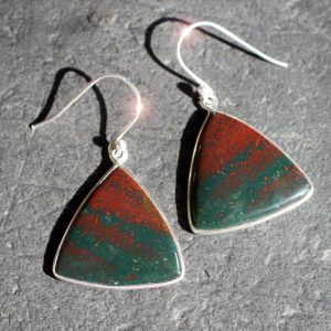 March Birthstone Earrings - Bloodstone