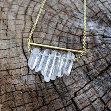 April Birthstone Necklaces - Quartz by Fierce Fox Art
