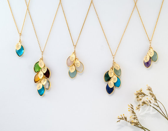 Mothers Birthstone Necklaces by Delezhen