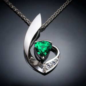 May Birthstone Necklace - Lab Emerald by Verbena Place Jewelry