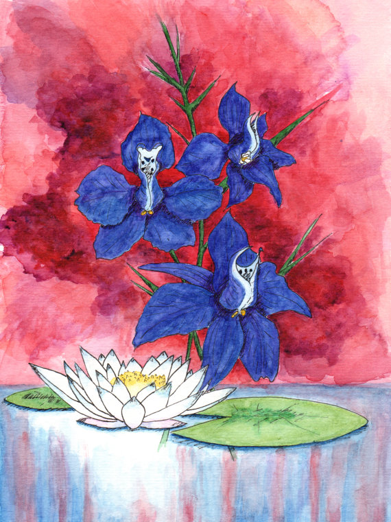 July Birth Flowers - Larkspur and Water Lily