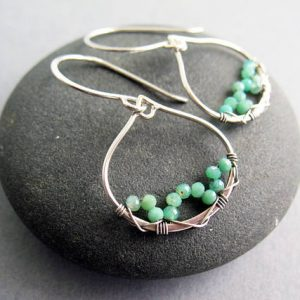 May Birthstone Earrings - Chrysoprase by Brenda McGowan