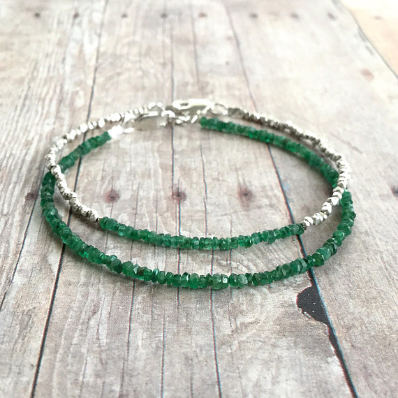 May Birthstone Bracelets - Natural Emerald by Gems By Kelly