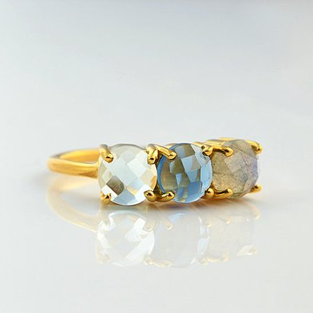 Mothers Birthstone Ring - 3 stone by Danique Jewelry