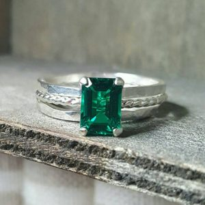 May Birthstone Ring - Lab Emerald by Gold Silver and Gems