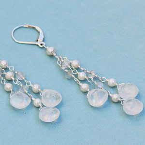 June Birthstone Earrings - Moonstone and Pearl
