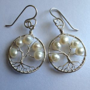 June Birthstone Earrings Pearl Tree of Life