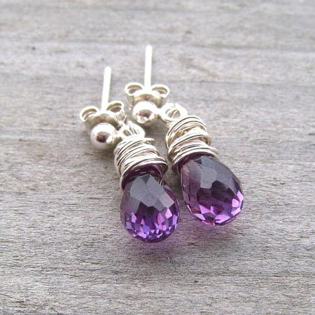 June Birthstone Earrings - Wire Wrapped Alexandrite