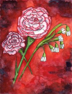 January Birth Flowers - Carnation and Snowdrop