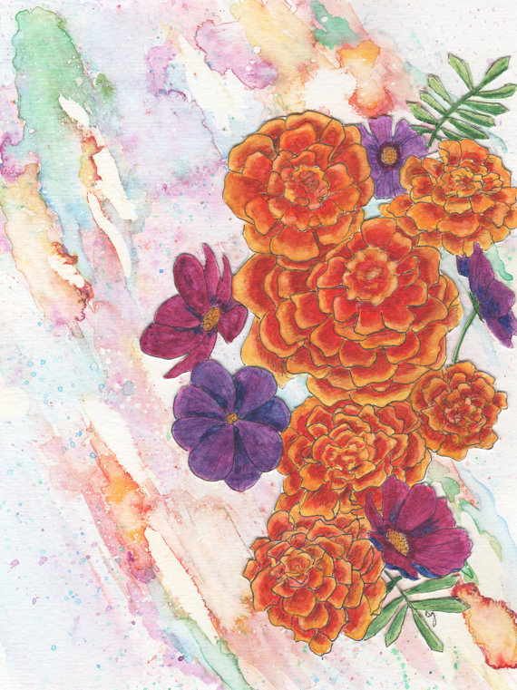 October Birthday Card - Marigold and Cosmos