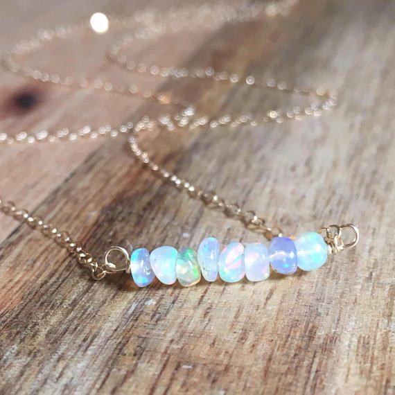 October Birthstone - Welo Opal Bar Necklace