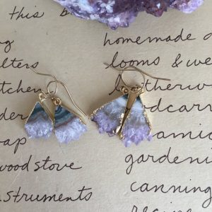 February Birthstone Earrings - Raw Amethyst