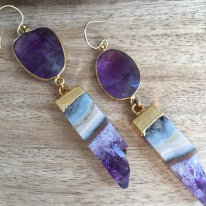February Birthstone Earrings - Purple Amethyst Stone