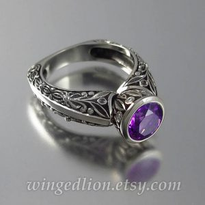 February Birthstone Ring - Carved Amethyst