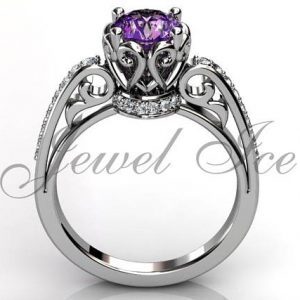 February Birthstone Ring - Amethyst and Diamond in Gold