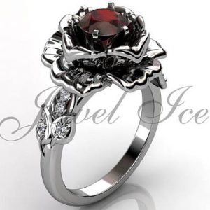 January Birthstone Ring - Garnet Rose Flower