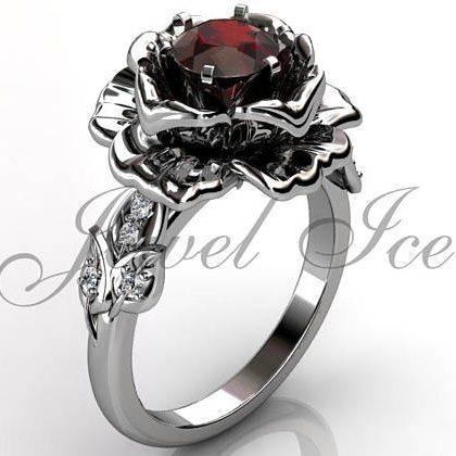 January Birthstone Ring - Garnet Rose Flower