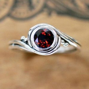 January Birthstone - Red Garnet Ring