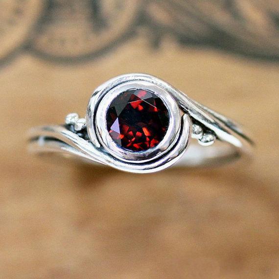 January Birthstone - Red Garnet Ring