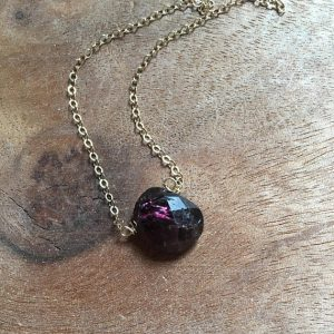 January Birthstone Necklace - Rough Garnet