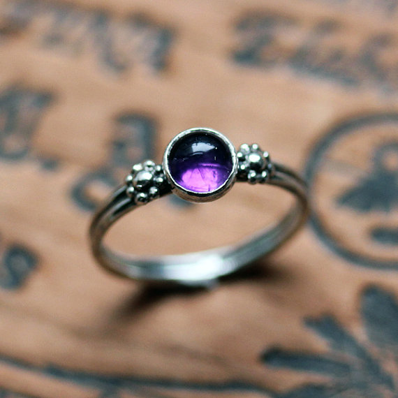 February Birthstone Ring - Purple Boho Ring