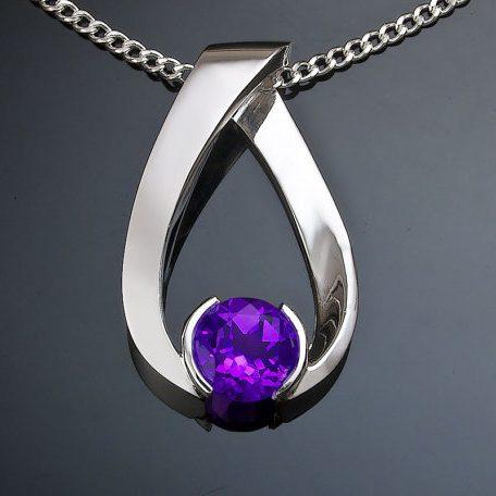 February Birthstone Necklace - Amethyst Pendant
