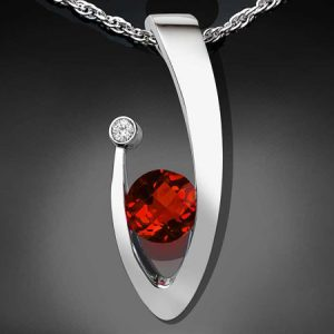 January Birthstone Necklace - Garnet and White Sapphire
