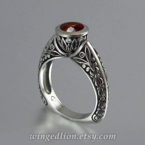 January Birthstone Ring - Carved Garnet