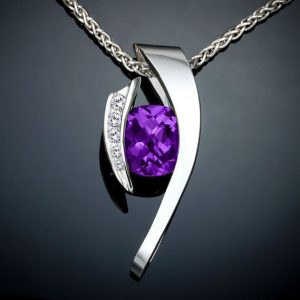February Birthstone Necklace - Amethyst and White Sapphire