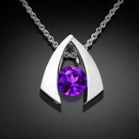 February Birthstone Necklace - Amethyst and Silver