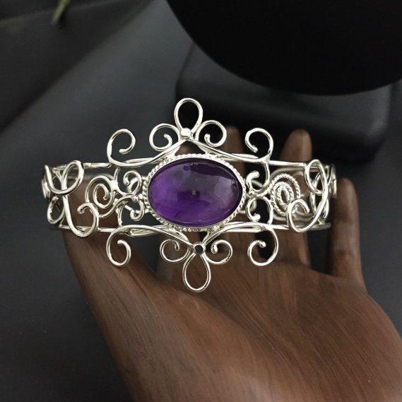 February Birthstone Bracelet - Amethyst Sterling Silver