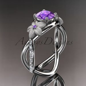 February Birthstone Ring - Amethyst and Diamond