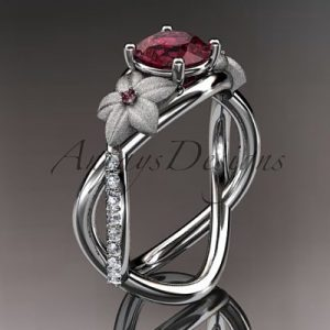 January Birthstone Ring - Garnet and Diamond